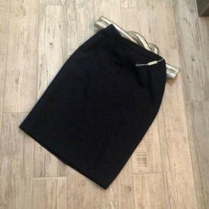 Jaeger Vintage Navy Boucle Wool Straight Skirt